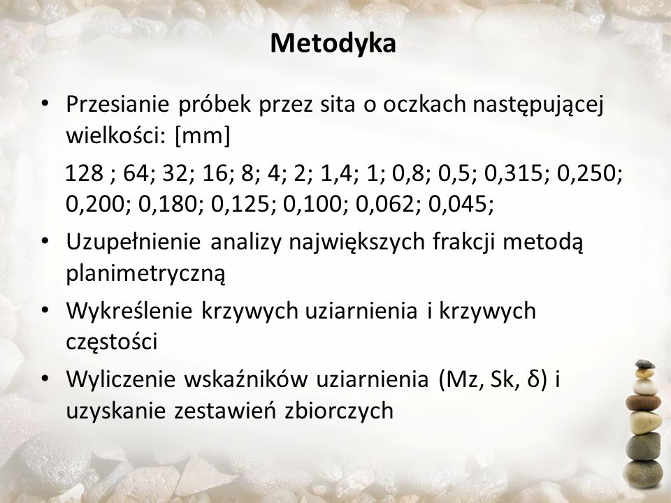 Metodyka Przesianie próbek przez sita o oczkach następującej wielkości: [mm]